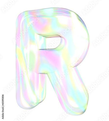 3d transparent letter R colored with pastel colors - Buy this stock