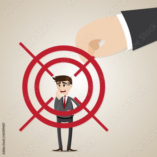 cartoon businessman targeted lock on by executive Tablou Canvas