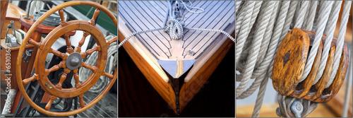 Fotografia  Collage mit maritimen Motiven, Segelboote