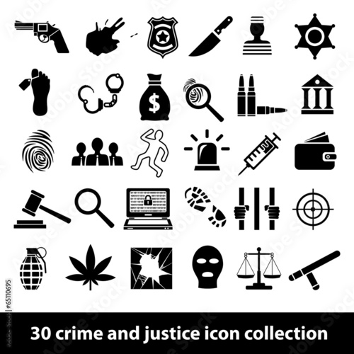 Plakát  crime and justice icons