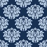 Blue seamless damask pattern