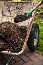 Photo Of Spade Putting Soil In Old Wheelbarrow
