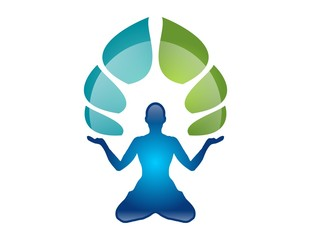 logo symbol icon yoga fitness people meditation health