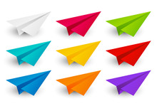 Set Of Color Paper Airplanes