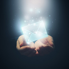 Hands With Envelope. E-mail, Global Communications, Mail Or Cont