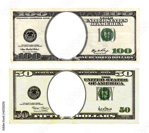 Fototapeta Hundred and fifty dollars bills on white background. obraz