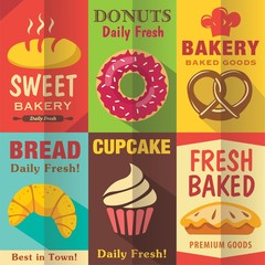 FototapetaBakery posters set with flat design. Vector background