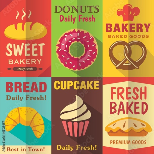 Bakery posters set with flat design. Vector background - 65129697