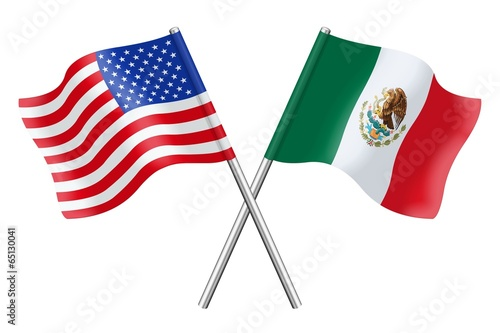Stampa su Tela Flags : USA and Mexico