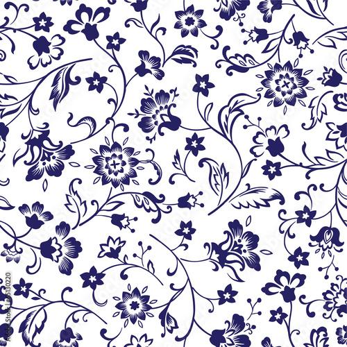 wzor-klasyczne-kwiaty-mozaika-granatowe
