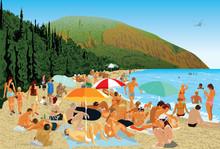 Beach People Mountains Sea