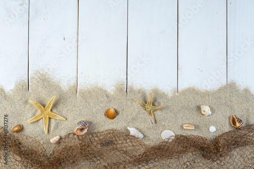 Fondo de madera con espacio blanco de vacaciones mar y playa