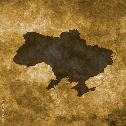 Fototapeta Grunge illustration with the map of Ukraine
