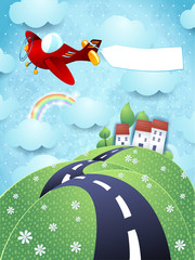 Fototapeta samoprzylepna Fantasy landscape with airplane and blank banner