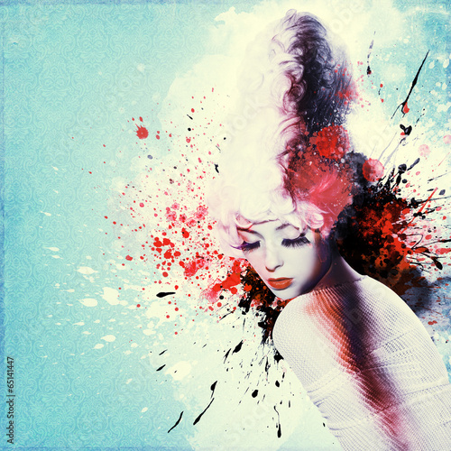 Foto op Aluminium Vlinders in Grunge Beautiful woman, Artwork with ink in grunge style