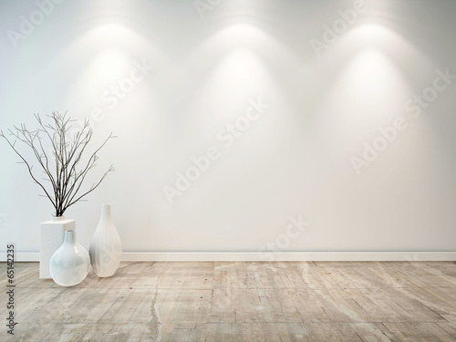 Fotografija  Empty neutral grey room with ornamental vases
