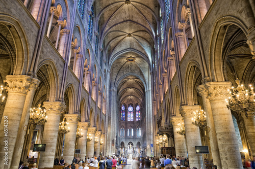 Canvas Print notre dame paris internal view