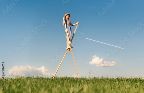 Fotografie, Tablou  Girl on stilts