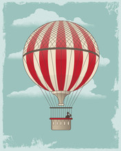 Vintage Retro Hot Air Balloon ...