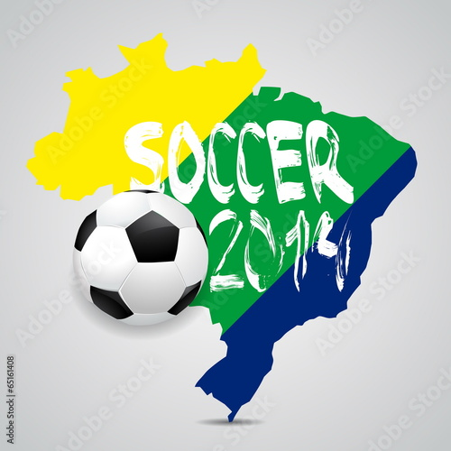 Photo  Map and Soccer ball of Brazil 2014, poster illustration