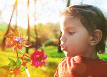 Portrait Of A Cute Boy Blowing Wind Wheel In Sunshine