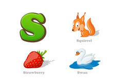 ABC Letter S Funny Kid Icons Set: Squirrel, Strawberry, Swan