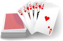 Poker Flush Hearts Cards Deck
