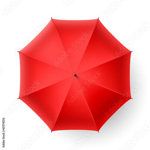Valokuva  Red umbrella, top view.