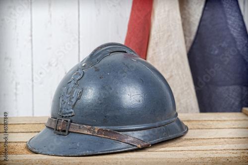 french helmet and old french flag Fototapeta