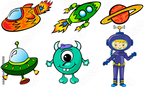 Poster Creatures Astronaut, rockets, alien and planet