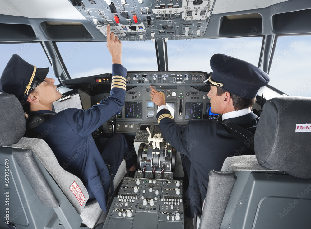 Deutschland,Bayern,München,Pilot und Co-Pilot Pilotierung ...