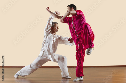 Photo Kung Fu,Changquan,Duilian,Lange Faust Style,zwei Männer,die Kung- Fu-Bewegungen