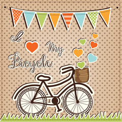 Fototapeta Retro or vintage bicycle with hearts