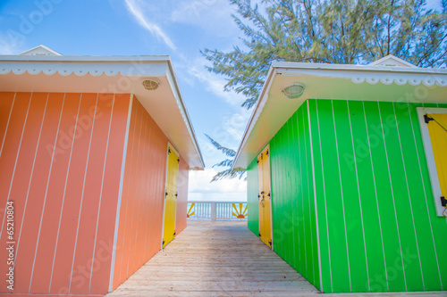 Foto auf Acrylglas Tropical strand Traditional bright Caribbean houses