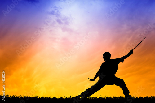 Poster Vechtsport Shaolin pose at sunset