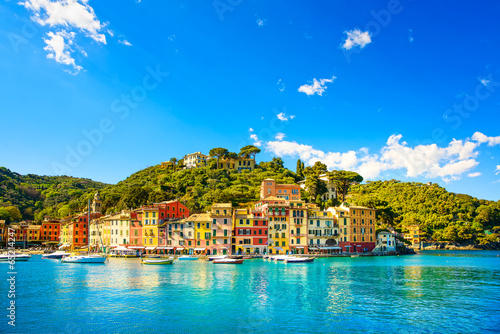 Canvas Prints Liguria Portofino luxury village landmark, panorama view. Liguria, Italy