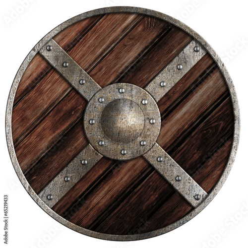 Fotografia  Medieval round wooden shield of vikings isolated on white