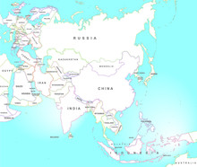 Asia Map In Vintage Style
