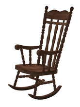 Old Wooden Rocking Chair On Wh...