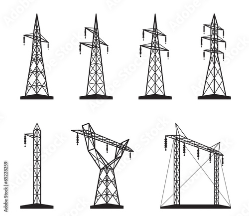 Valokuva  Electrical transmission tower types in perspective