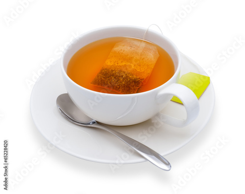 Papiers peints The Cup of tea with tea bag, isolate on white