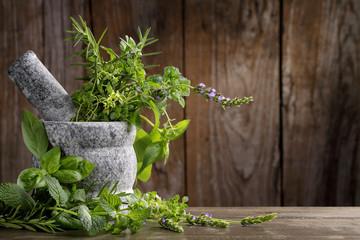 Fototapeta Przyprawy herbs in mortar