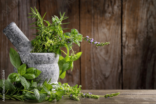 herbs in mortar