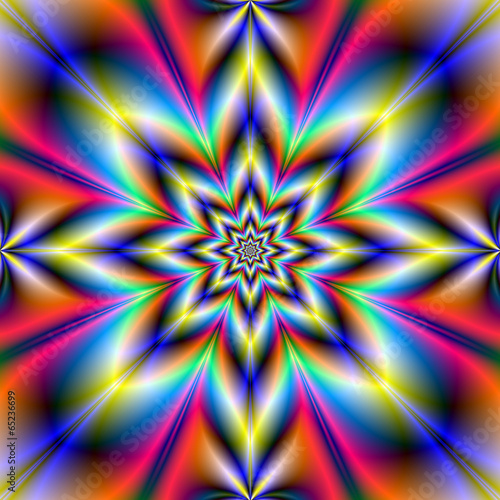 Poster Psychedelic Red Blue and Yellow Star