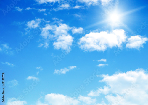 Aluminium Prints Heaven blue sky background with tiny clouds