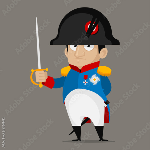 Fotografie, Obraz  Napoleon Bonaparte cartoon character holds sword