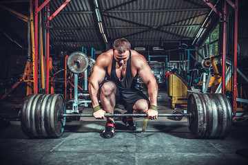 Fototapeta Do klubu fitness / siłowni Powerlifter with strong arms lifting weights