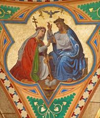 Fototapeta Do kościoła Váienna - Fresco of Jesus and symbolic Church