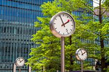Canary Wharf Clocks. London, UK