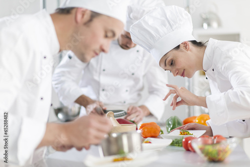 Fotografie, Obraz  Portrait of a female chef preparing a dish carefully
